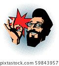 smiling hipster OK gesture 59843957