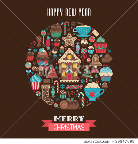 Merry Christmas Greeting Card in Circle Shape 59847699