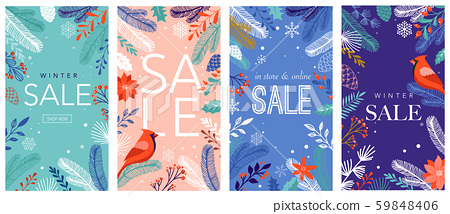 Collection of abstract background designs, winter sale, social media promotional content. Vector 59848406