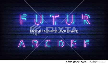 Neon light alphabet font. Glowing neon illuminated 3d modern typeface. Letters a, b, c, d, e, f 59848886
