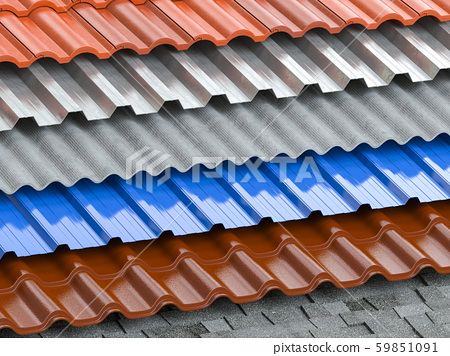 Different types of roof coating. Background from 59851091