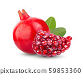 Pomegranate and leaf isolated on white background. full depth of field 59853360