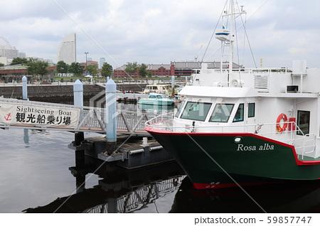 Sightseeing boat stop at Yokohama Port 59857747