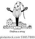 Scandinavian Christmas gnome sings. Sketch 59857889