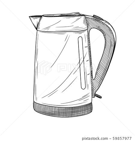 Sketch of electric kettle on a white background. 59857977