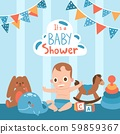 Baby shower, vector illustration. Cute little boy cartoon character playing with toys. Birthday 59859367