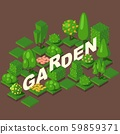 Isometric garden set, vector illustration. Green trees, bushes and flowerbeds for game or map. Title 59859371