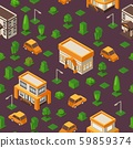 Isometric seamless pattern, vector illustration. Set of buildings and cars in geometric perspective 59859374