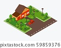 Isometric house with lawn and car, vector illustration. Game design tile of suburb home near road 59859376