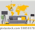 Interior design of living room, vector illustration in flat style. Modern decoration of cozy 59859378