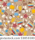 Interior design accessories in seamless pattern, vector illustration. Set of flat style icons 59859380