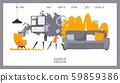 Interior design website, vector illustration. Landing page template of furniture store, online 59859386