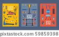 Set of gym banners in flat style, vector illustration. Fitness studio equipment icons, sport club 59859398