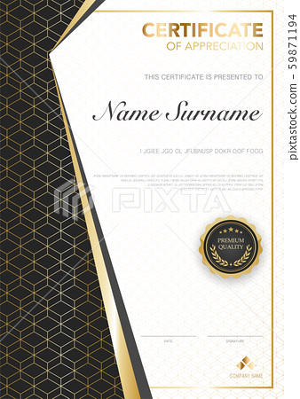 diploma certificate template black and gold color with luxury and modern style vector image. 59871194