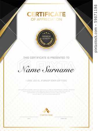 diploma certificate template black and gold color with luxury and modern style vector image. 59871198