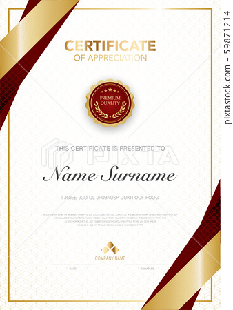 diploma certificate template red and gold color with luxury and modern style vector image. 59871214