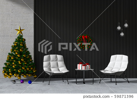 Christmas interior living room. 3d render 59871396