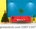 Christmas interior living room. 3d render 59871397