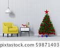 Christmas interior living room. 3d render 59871403