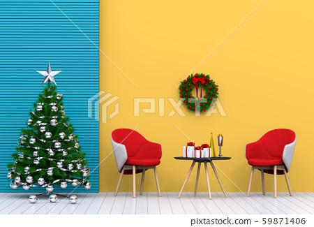 Christmas interior living room. 3d render 59871406