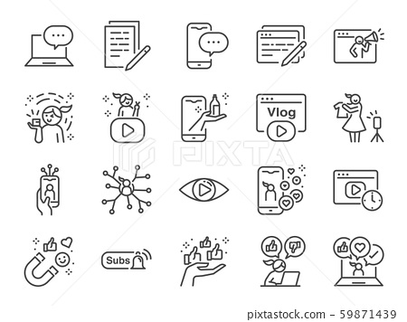 Micro influencer and blog line icon set. 59871439