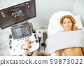 Woman examining her abdomen with ultrasound 59873022