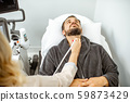 Men examining his thyroid with ultrasound 59873429