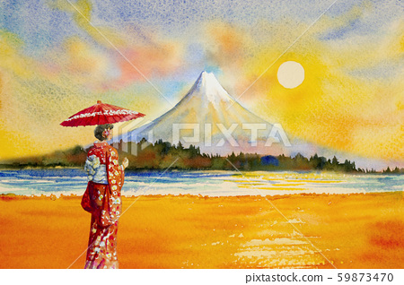 Colorful watercolor painting landmarks in Japan. 59873470