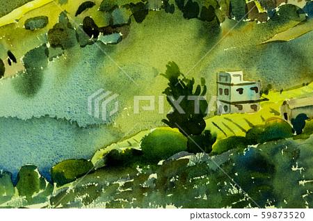 Watercolor painting landscape colorful of village 59873520