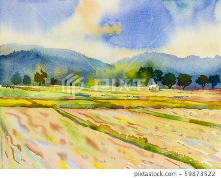 Watercolor landscape painting of mountain range 59873522