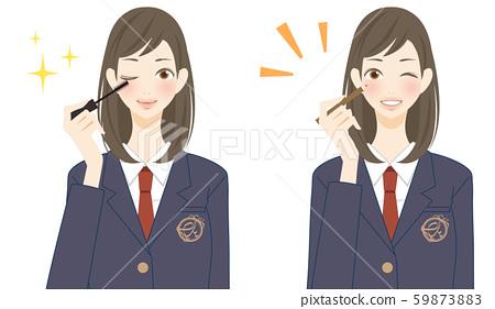眼妝的學生女孩高中初中生微笑的插圖 59873883