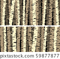 Set of horizontal banners with birch trunks. 59877877