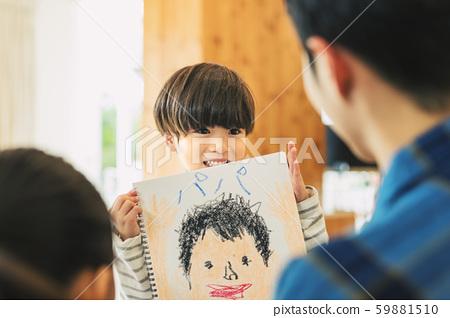 爸爸兒子畫父親節 59881510