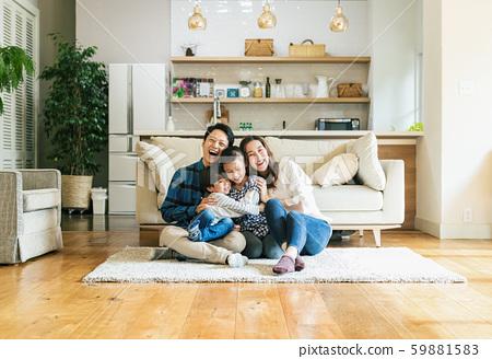 家庭,父母和子女,家 59881583