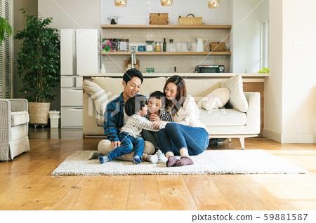 家庭,父母和子女,家 59881587