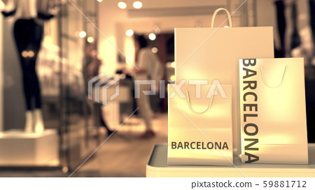 Paper bags with Barcelona text. Shopping in Spain related 3D rendering 59881712
