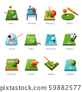 Fields and sport equipment isolated icons, play game 59882577