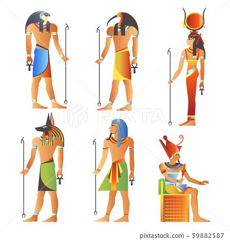 Egyptian gods and goddess, Pharaoh of Egypt, diety isolated icons 59882587