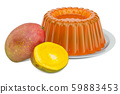 Mango Jelly on a plate with mango, 3D rendering 59883453