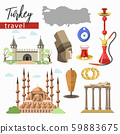 Turkey travel destination, landmarks and cuisine, cultural objects 59883675