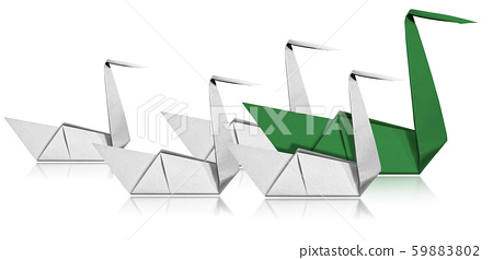 Leadership Concept - Paper Swans isolated on white 59883802