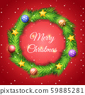 Christmas wreath made of pine leaf with decoration 59885281