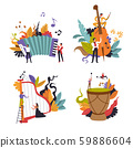 Classic and folk music show, musicians with musical instruments, isolated icon 59886604