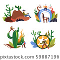 Wild West cowboys, western criminal and sheriff, isolated icons 59887196