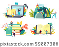 Students and education, degree receiving and learning, isolated icons 59887386