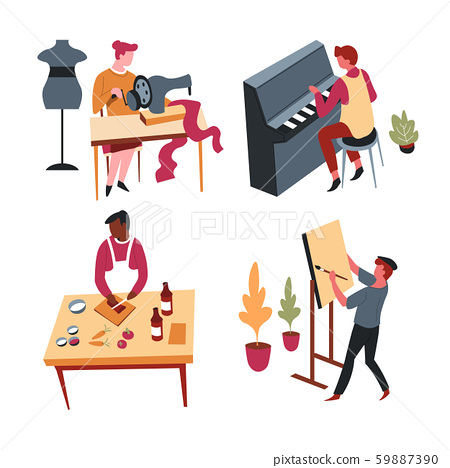 Art and culinary, hobbies or home leisure activity, isolated characters 59887390