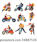 Bikers or motorbike racers on motorcycles and mopeds or sportbikes, isolated characters 59887536