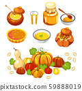 Thanksgiving holiday food, pumpkin dishes isolated icons 59888019