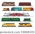 Electric and diesel locomotives, high speed train, cargo wagons isolated icons 59888305