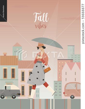 Rain - walking girl 59888877